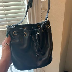 Mini black bucket bag